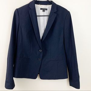 Ann Taylor Navy Button Front Career Blazer Size 6